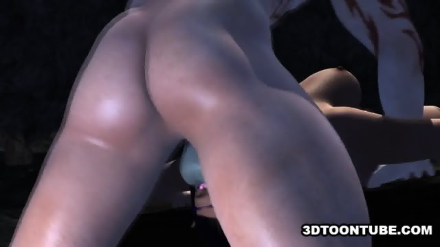 Busty 3D babe getting fucked hard by a monster