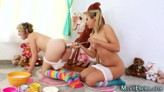 Lesbian eats milky ass - scene 1