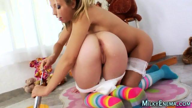 Lesbian eats milky ass - scene 4