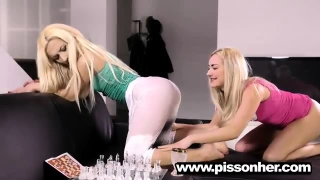 Puppy drinking pee with a hot girlfriend - scene 3