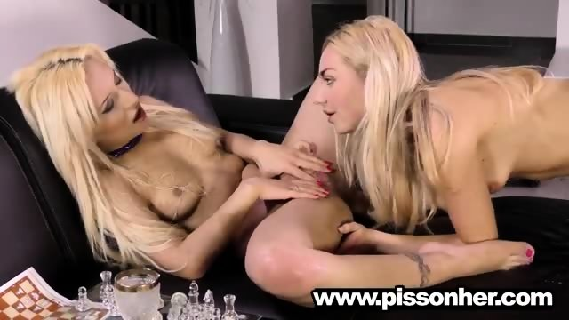 Puppy drinking pee with a hot girlfriend - scene 5