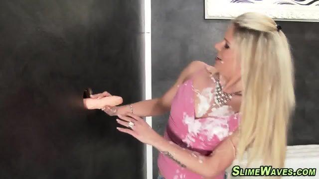 Gloryhole ho masturbates - scene 3