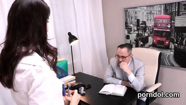 Cute schoolgirl is tempted and fucked by her older schoolteacher - scene 3