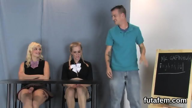 Teenies fuck fellas anus with massive strap-ons and squirt jizm - scene 7
