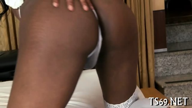 Blowjob by a busty shemale girl - scene 3