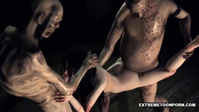 Foxy 3D cartoon zombie babe gets a double teaming - scene 1