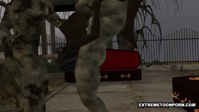 3D ebony babe double teamed outdoors by some zombies - scene 7