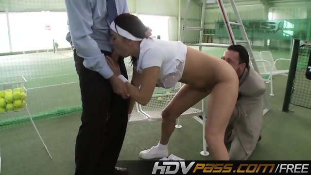 Brunette Lea Magic Fuck with two Guys - scene 3