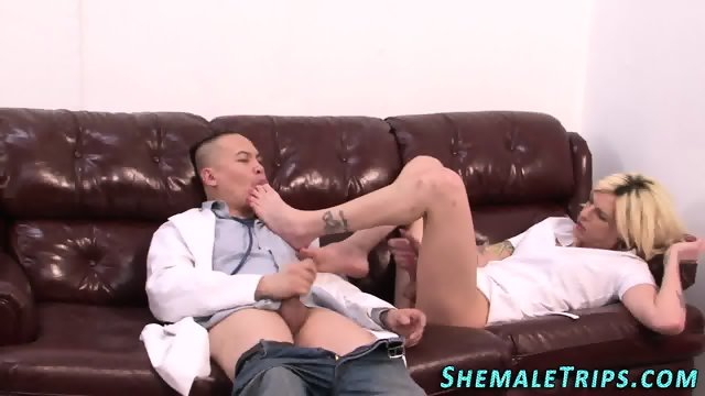Foot worshipped shemale