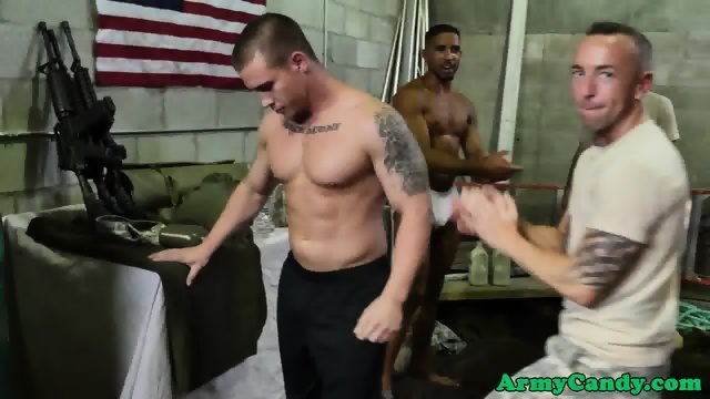 Army soldiers interacial group fuck session