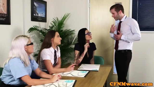 CFNM office babes sucking coworkers cock