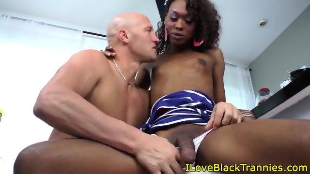 Cocksucking ebony tgirl cumsprayed on mouth