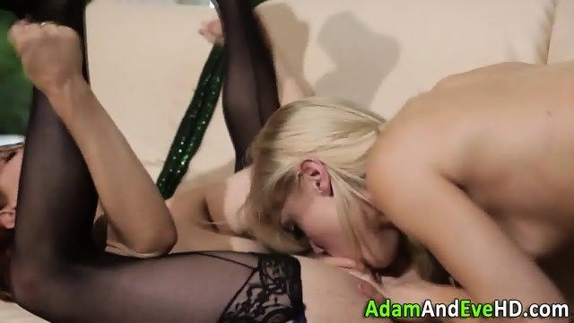 Lesbos in stockings lick - scene 9