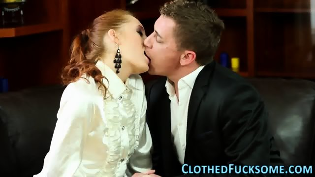 Posh clothed ginger lick - scene 2