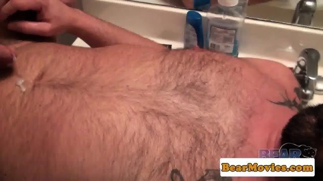 Tattooed bear assfucking cub in bathroom - scene 10