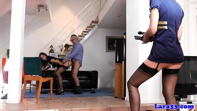 British milf shares cock with gorgeous babe - scene 1