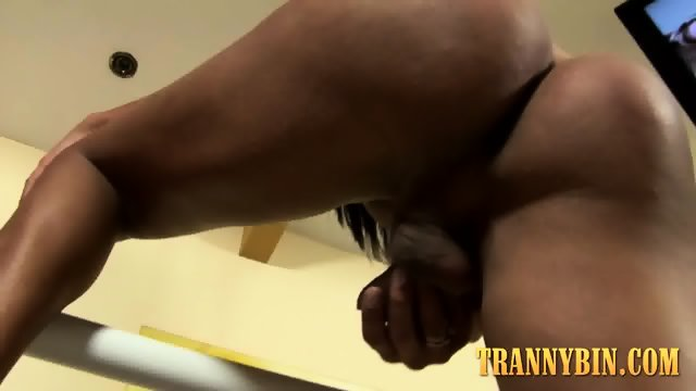 Tina loves masturbating her hard cock - scene 5