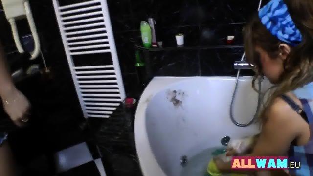 Euro Lesbians Have Fun In A Bath - scene 6