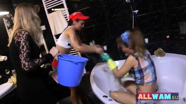 Euro Lesbians Have Fun In A Bath - scene 7