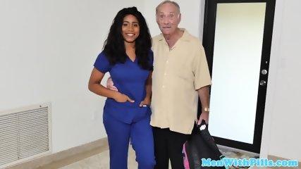 Ebony nurse fucks geriatrics at home visit
