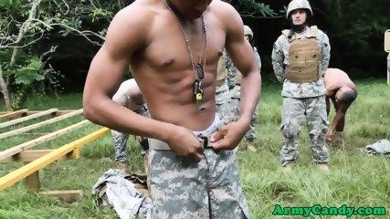 Ebony soldier deepthroating cock outdoors