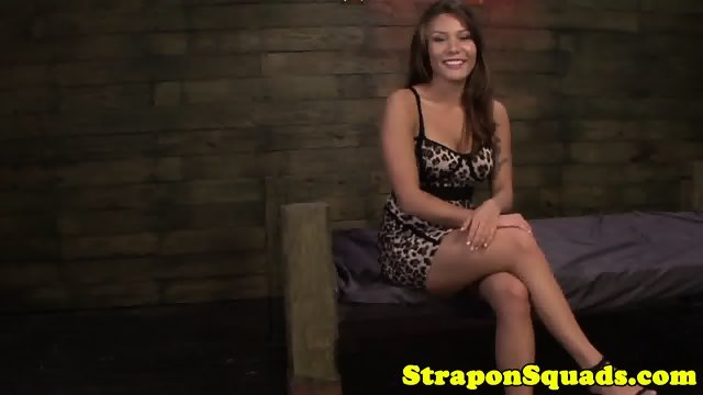 lesbian sub slut - Asian sub slut dominated in trio by strapon