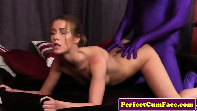 Facialized babe climaxing with dripping cum - scene 2