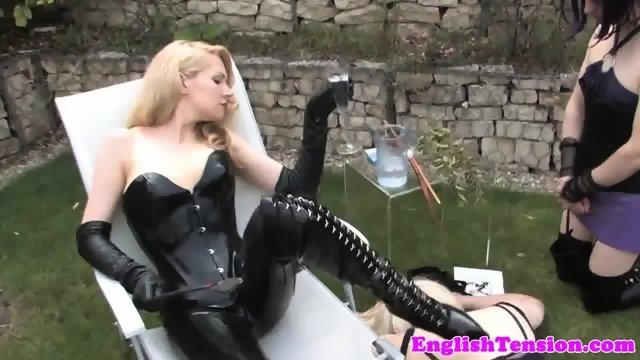 Smoking bdsm mistress dominates sissyfication