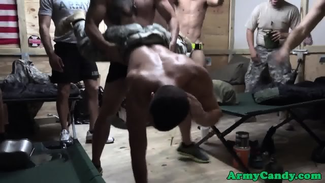 Top black hunk drilling soldiers ass in group