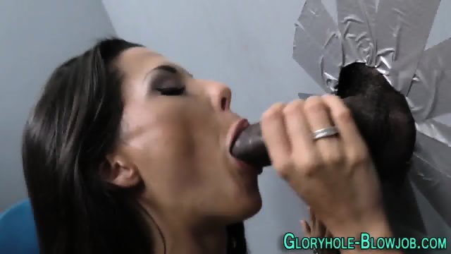 Hottie sucks black dick
