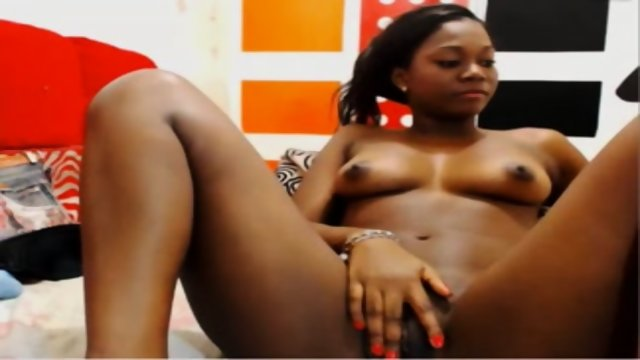 Ebony Girl Touching Her Pussy