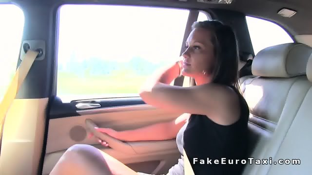 Babe sits on fake cab drivers cock in public