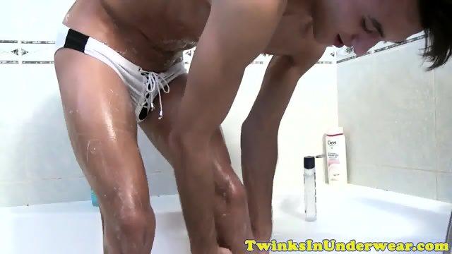Athletic twink in jocks jerking his cock