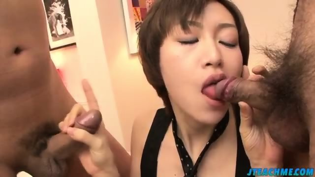 Akina holds several dicks in her greedy mouth - scene 6