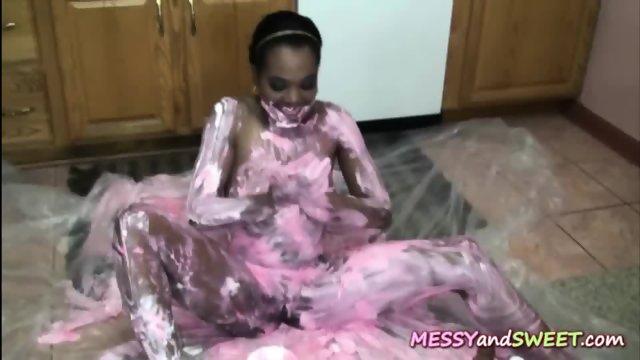 Ebony Tina Gets Messy - scene 10