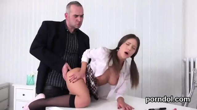 Ideal schoolgirl was seduced and nailed by her elderly mentor - scene 10