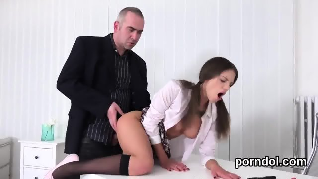 Ideal schoolgirl was seduced and nailed by her elderly mentor - scene 11