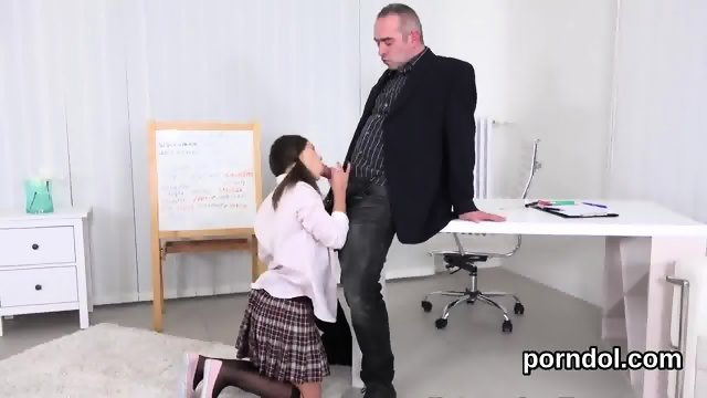 Ideal schoolgirl was seduced and nailed by her elderly mentor - scene 2