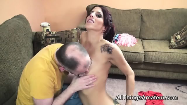 Hot bodied skinny milf has sex with an a grey haired man - scene 2
