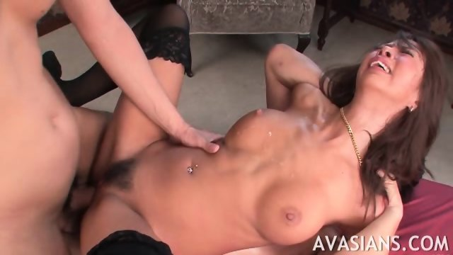 Brunette jap in stockings starts crying from rough ass bang - scene 8