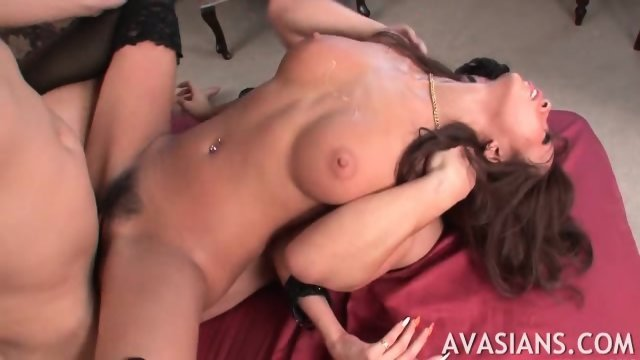 Brunette jap in stockings starts crying from rough ass bang - scene 12