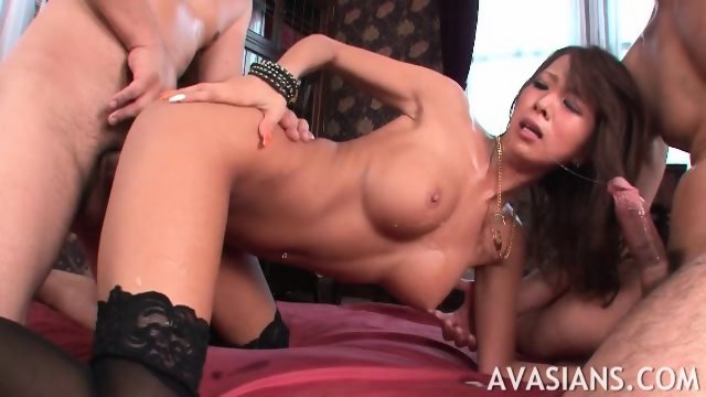 Brunette jap in stockings starts crying from rough ass bang - scene 4