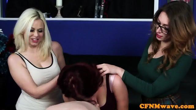 Euro CFNM femdom edging blokes throbbing cock - scene 9