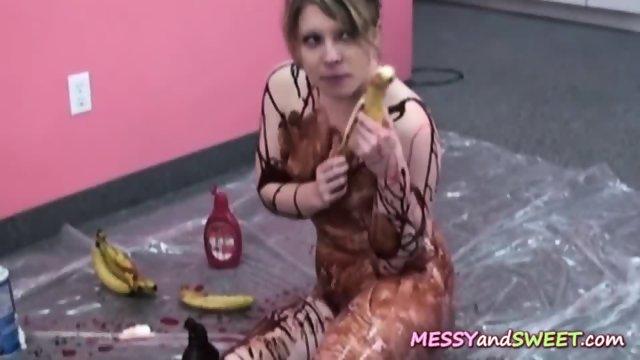 Sticky slut loves banana split