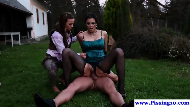 Euro piss lovers doggystyled outdoors in trio - scene 8
