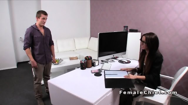 Female agent in trousers rubs dick in casting