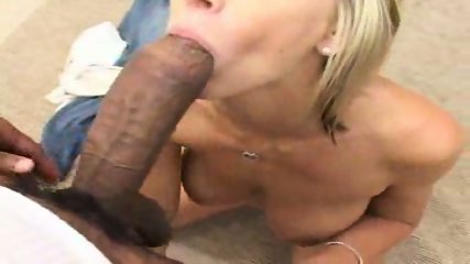 Blonde swallowing big black Johnny