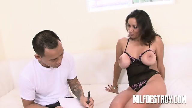 Asian playing with big milfs tits. - scene 1