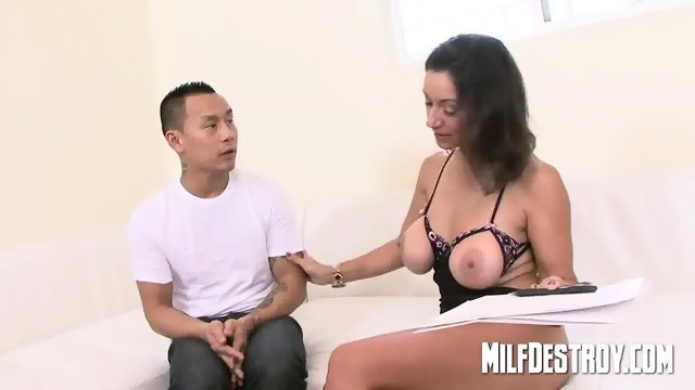 Asian playing with big milfs tits. - scene 2
