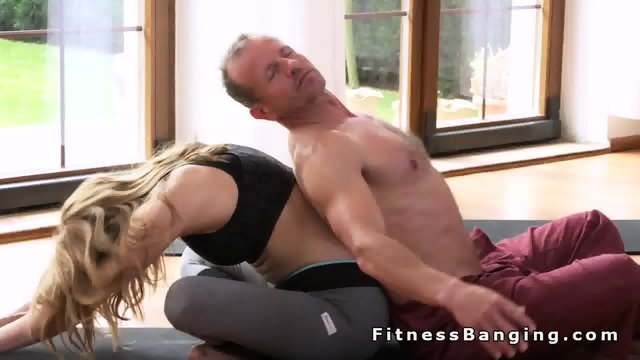 Perfect ass blonde gets banged after yoga training - scene 3